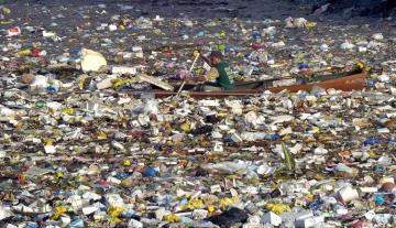 Man Rowing Through Plastics Island