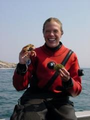 Amanda Leland of Environmental Defense with crab