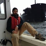 Jay O'Hare aboard his lobster boat blocking the Energy Enterprise from delivering coal to Somerset MA power plant.