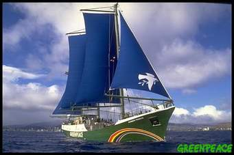 Greenpeace Rainbow Warrior under sail